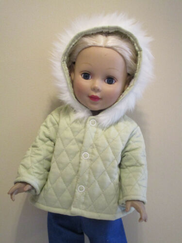 "Light Green Quilted Winter Coat for 18"" Doll Clothes American Girl"