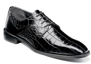 Stacy Adams Mens Shoes Triolo Crocodile Lizard Print Leather Black 25211-001