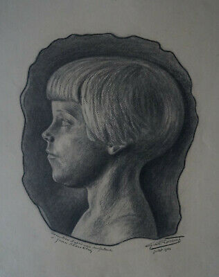 "Signed Diligent Gisele Decamp Charcoal "" Young Girl "" 1940"