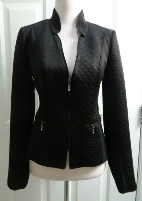WHITE HOUSE BLACK MARKET BLACK SILVER RHINESTONE ZIPPER QUILTED JACKET SIZE 2
