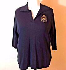 Lauren Ralph Lauren Black V-Neck Crest Embroidered Polo Shirt Womens Plus 1X B13