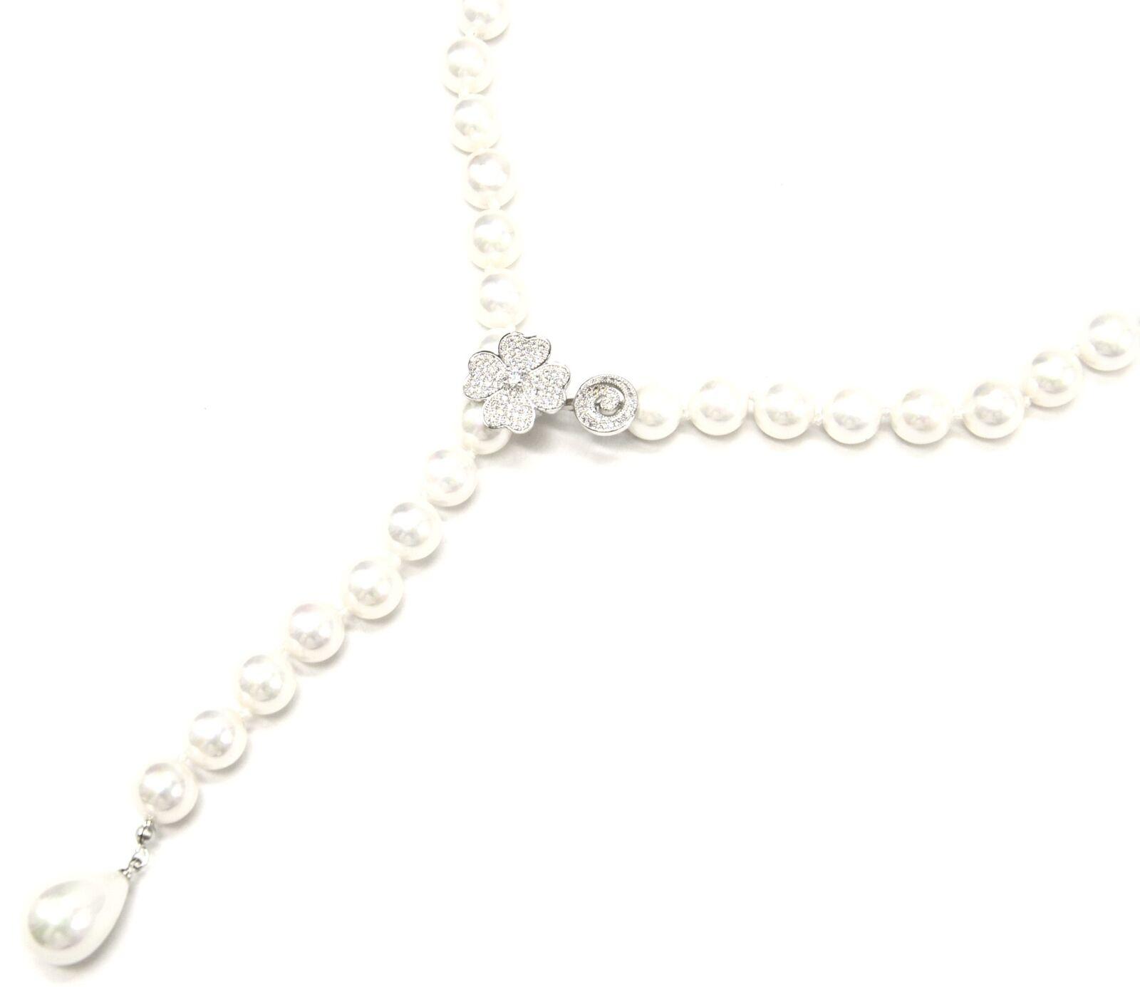 CC2148E - Collier Y Grosses Perles Nacre Ecru avec Charm Trèfle Strass Zircon...