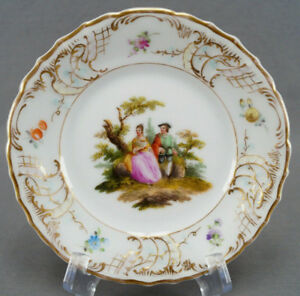 Thieme Dresden Hand Painted Courting Couple Floral Gold Bread Plate E AS IS