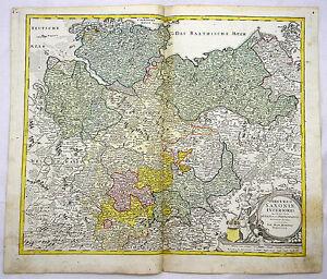 Goslar Karte.Details Zu Niedersachsen Hamburg Goslar Mecklenburg Kupferstich Karte Homann 1720 D948s