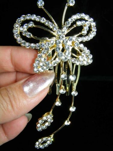 SALE Bridesmaid Prom Butterfly made with Swarovski Crystal Hair Comb TC064g