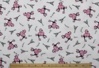 Snuggle Flannel Pink Poodles In Paris On White 100% Cotton Fabric 1 Yd 28