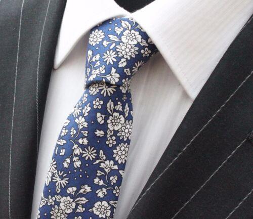 Tie Neck tie Slim Blue with White Flower Quality Cotton T6145