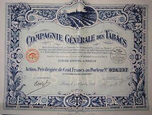 Cgt Compagnie Générale Des Tabacs Action Privilégiée 100 Francs 1927 Qotr4yxb-07221359-141110060