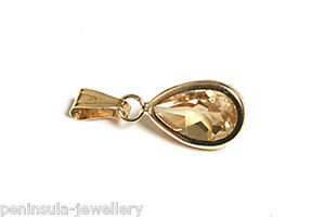 9ct-Gold-Citrine-teardrop-necklace-Pendant-no-chain-Made-in-UK-Gift-Boxed
