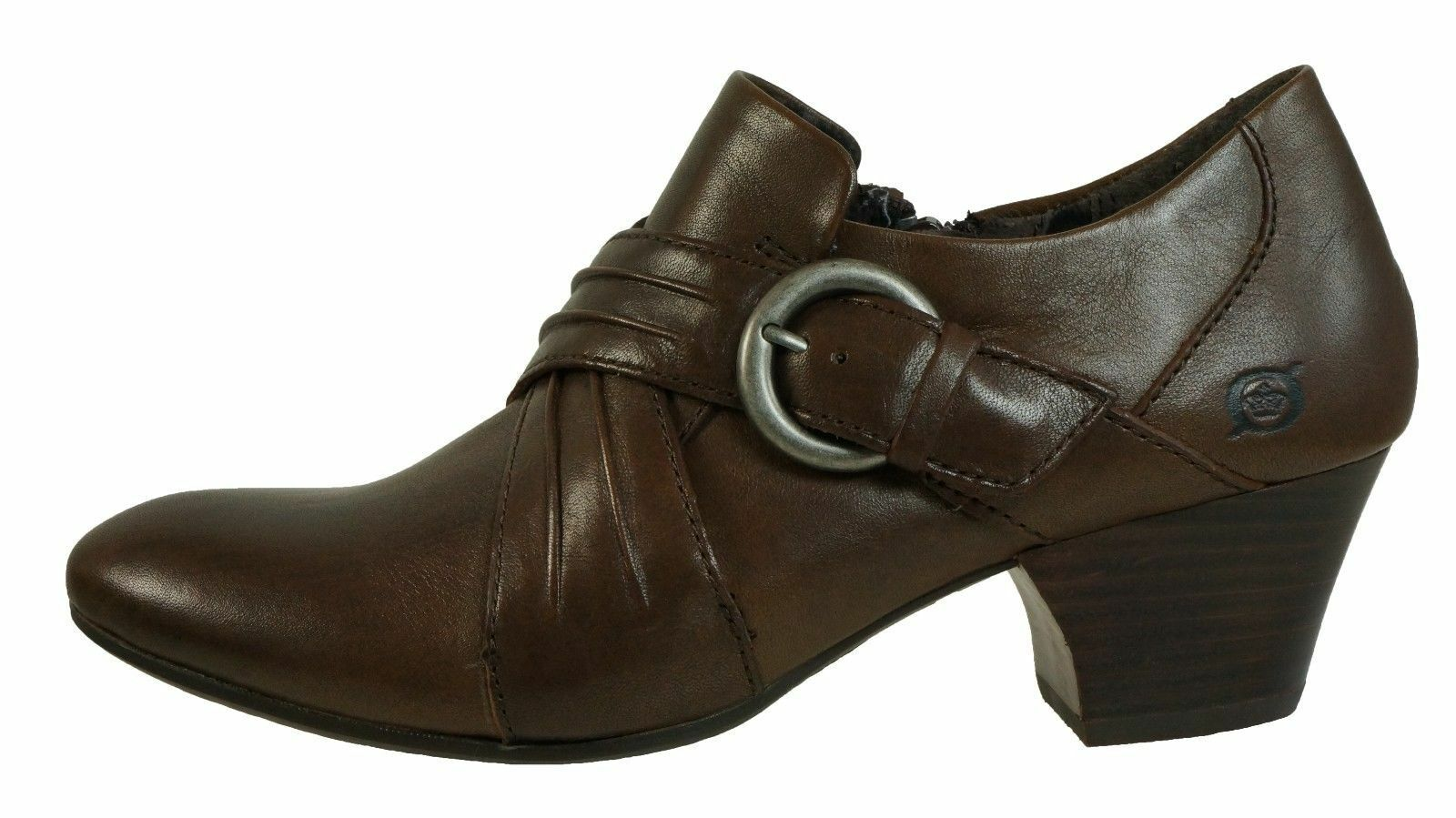 NIB BORN Women Nova Brown Cognac Leather Bootie sz 9.5M W EURO 41
