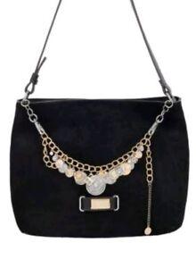 collar de bolso Serena cuero y Bibi de negro con gamuza dijes Bijoux monedas con qBEvnwz