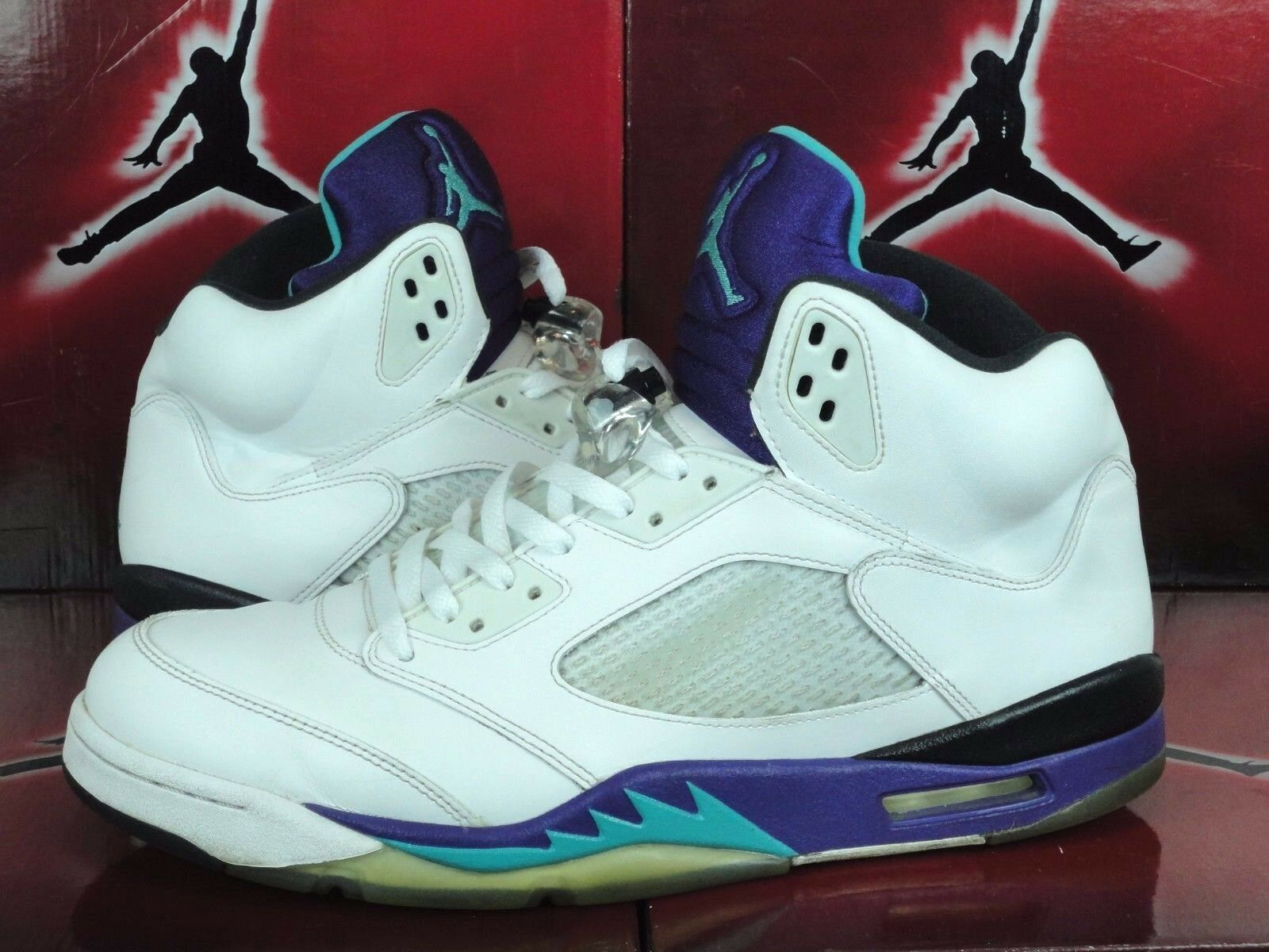Air Jordan 5 Retro Grape 2013 Size 13 White Purple Aqua - X V I - Nike