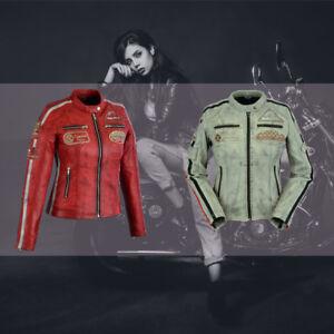 AgréAble Veste Moto Pour Femmes En Véritable Cuir Avec Rétro Style Automne * (taille: 36 - 44) *-afficher Le Titre D'origine