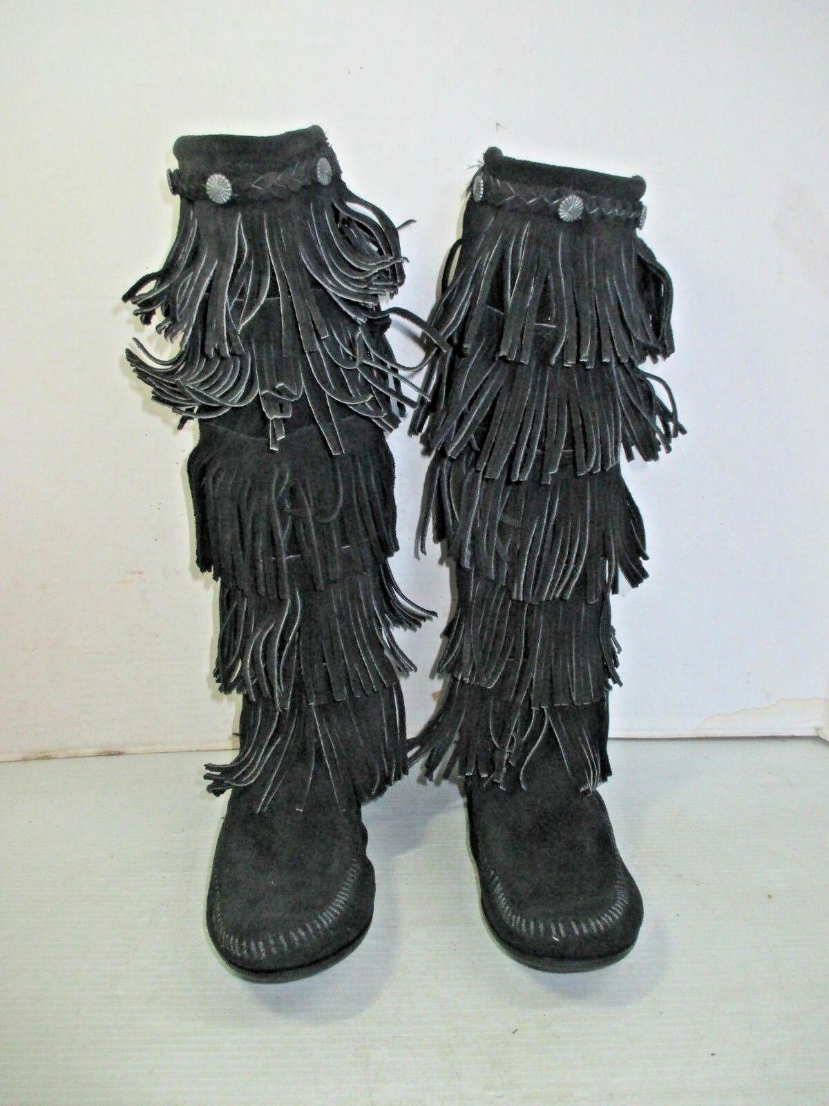 Para mujer botas Minnetonka Minnetonka Minnetonka Moccasin  1659 Negro Flecos de Gamuza 5 niveles con Cremallera Talla 7  100% autentico