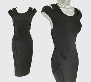 40 Black 12 Formal Elegant Evening Side Ruched Uk Karen Eu Dress Jersey Millen 5wg7q7