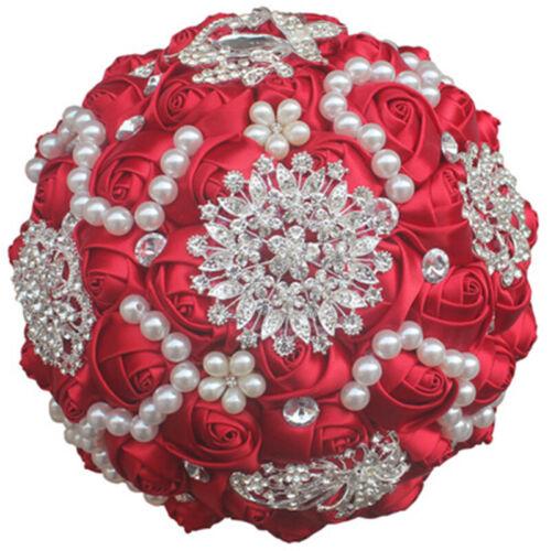 15 Colors Bridal Bouquet Brooch Crystal Pearls SILK Flowers Rose Wedding Flower