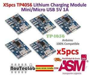 5pcs-TP4056-1A-5V-Lithium-Battery-Charging-Module-Mini-Micro-USB-Interface