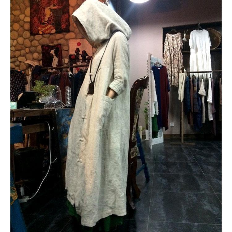 Ladies hooded loose full length dress robe maxi coat retro cloak Linen cotton Sz