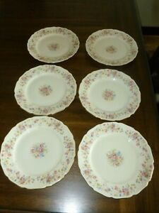 Thomas Ivory - Bavaria - Rose Gold Trimmed China - Germany 6 Salad Plates F/S!