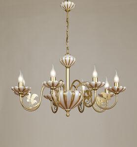 Lampadario 8 luci via veneto metallo bagno oro ceramica bianco foglia oro ebay - Lampadari x bagno ...