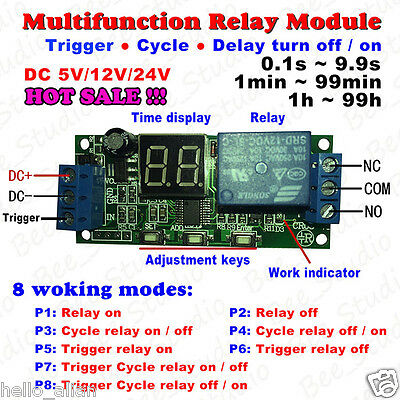 LED Display Cycle Delay Timing Timer Relay Switch Turn ON/OFF Module 5V 12V 24V