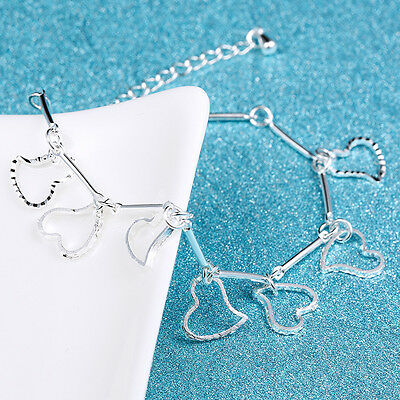 Fashion Women 925 Sterling Silver Charm Love Heart Beads Bracelet Bangle Gift