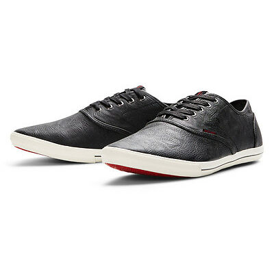 JACK & JONES Mens Low Synthetic Leather Shoes Plimsoll Trainers Sneakers Black