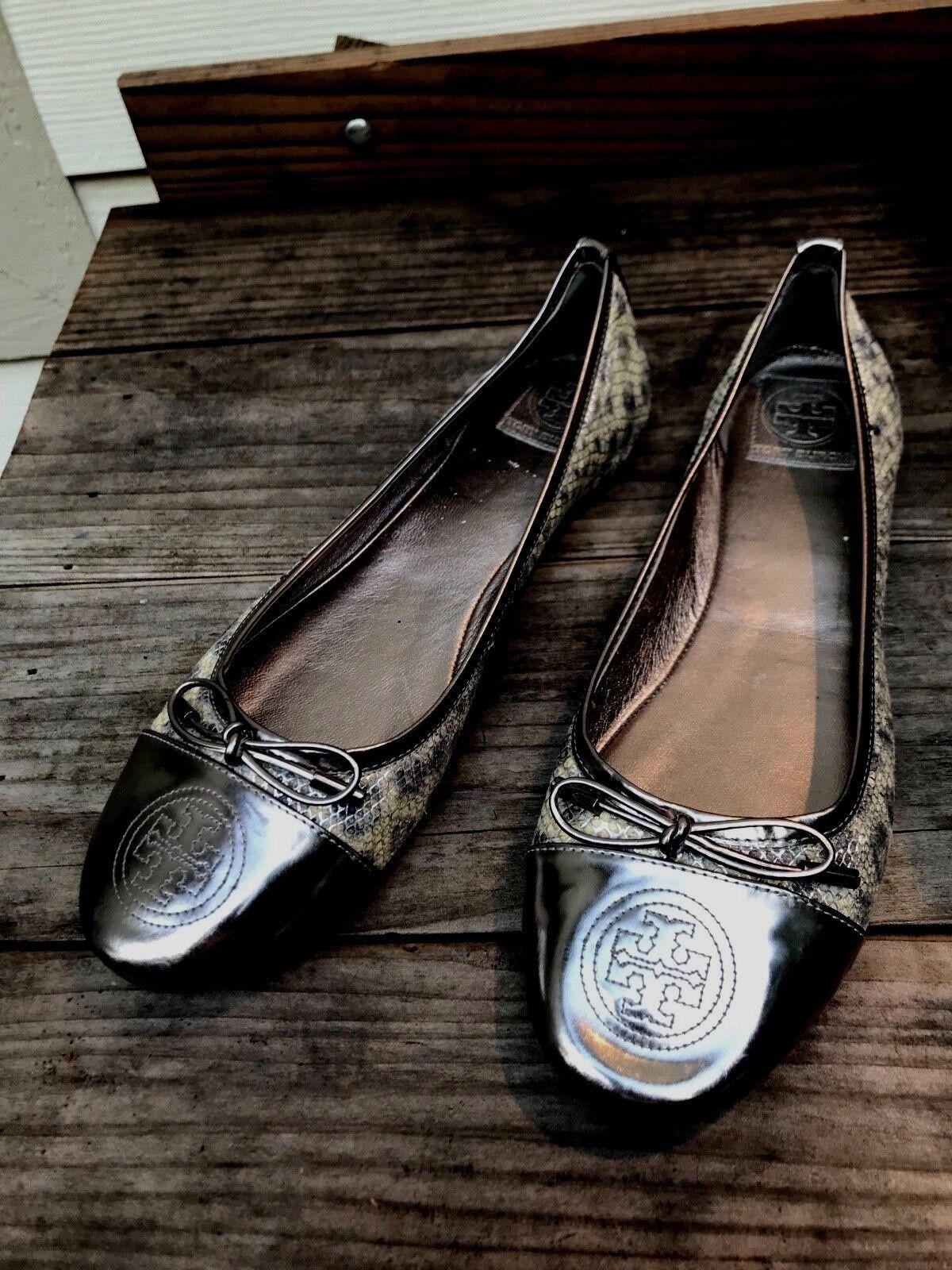 TORY BURCH NEU Verbena Silver Patent Leder/ Snake Print Ballet  Flat Größe 11