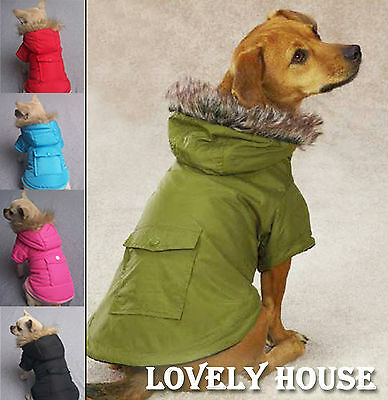 Pet Clothes Dog Cat Fur Trimmed Parka Clothing Coat Jacket Hood Hooded XS-XXL