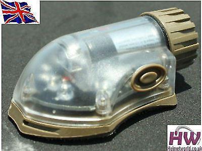 AIRSOFT LIGHT FLASHLIGHT IR RED HELMET DISTRESS STROBE TAN SAND DE UK
