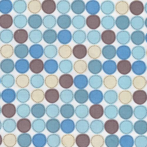 Half Metre Quilting Fabric ~ Dino World ~ Big Dot Patch ~ White