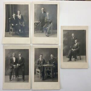 Lot-5-Vintage-Sepia-Photographs-Two-Boys-Men-Couple-Portraits-Posed-Photos-F103