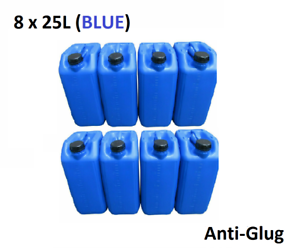 8 x 25 LITRE 25L PLASTIC BOTTLE JERRY WATER CONTAINER CANISTER ANTI GLUG - BLUE