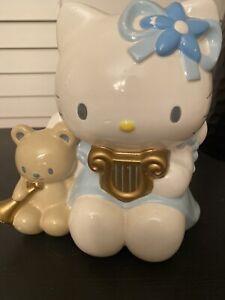 Vintage-2001-SANRIO-HELLO-KITTY-Blue-ANGEL-Ceramic-Piggy-BANK-w-Tiny-Chum
