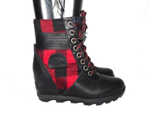 Sorel Size 8.5 Red Black Buffalo Check Lexi Wedge