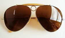 Vintage 1970 Ray Ban Bausch & Lomb Large 62mm Brown 1/30 10K GP Shooter Aviator