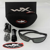 Wiley X P-17 Polarized Sunglasses Green Lens Gloss Black Frame P-17