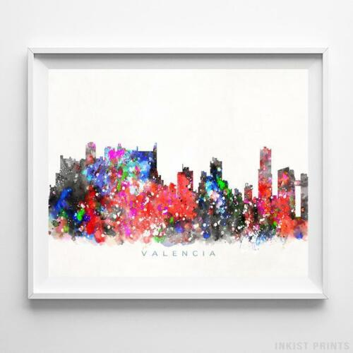Valencia Spain Watercolor Skyline Wall Art Home Decor Poster UNFRAMED