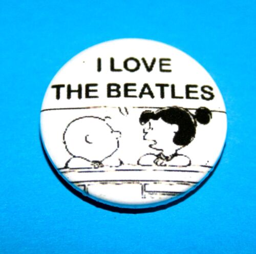 I LOVE THE BEATLES SNOOPY PEANUTS INSPIRED BUTTON PIN BADGE