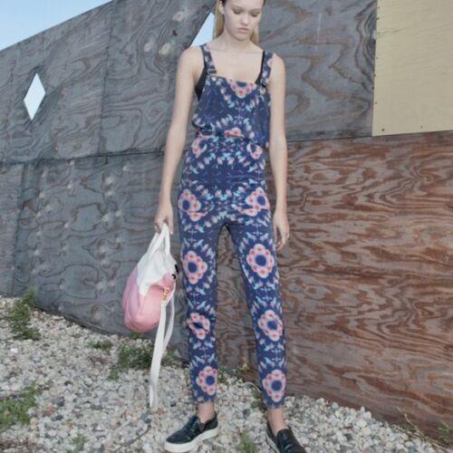 $750 Collina Strada Floral Print Silk Overalls