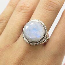 925 Sterling Silver Large Natural Moonstone Gemstone Ring Size 7 1/4