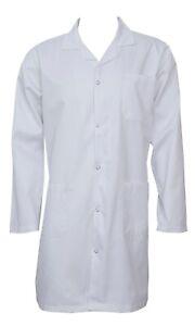 Unisex-White-Lab-Coat-Laboratory-Coat-Warehouse-Coat-Doctor-039-s-Coat-Food-Coat