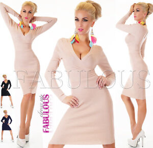 Sexy-Women-039-s-Wrap-Style-Jumper-Dress-Hot-Knitted-Top-Sweater-Size-6-8-10-XS-S-M