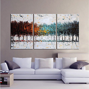 Image Is Loading 3 Piece Set Oil On Canvas Painting Abstract