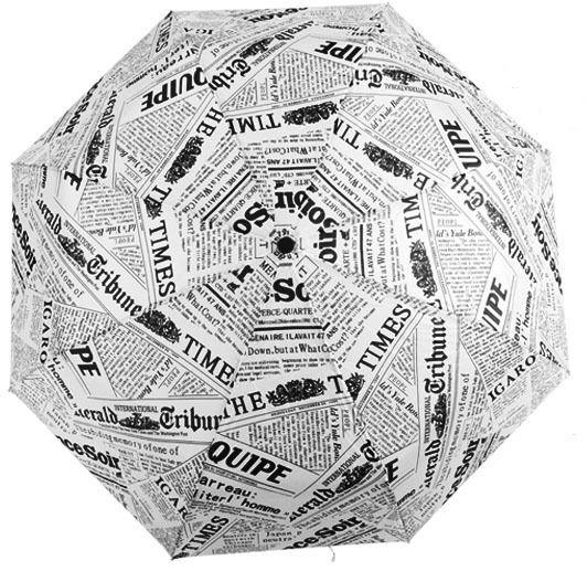 Modern Novelty Newspaper Pattern Folding Unisex Umbrella for Women & Men