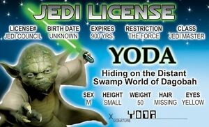 Jedi-Master-YODA-of-STAR-WARS-novelty-collectors-card-Drivers-License