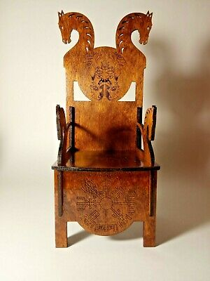 "Throne Viking Сhair Dragon for TONNER BJD Dolls 16-18/"" 1//4  OOAK RARE wooden HM"