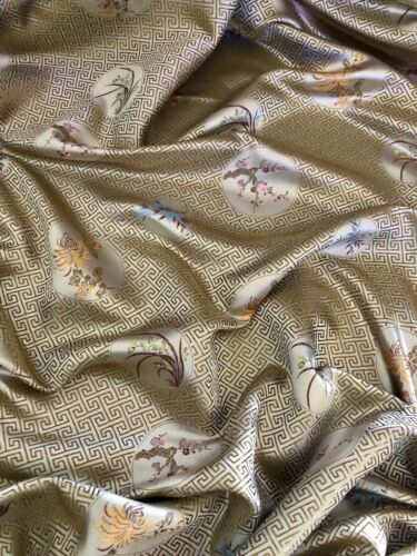 "5 MTR champán griego clave Oriental Floral Chino Brocade Fabric 45/"" De Ancho £ 29.99"