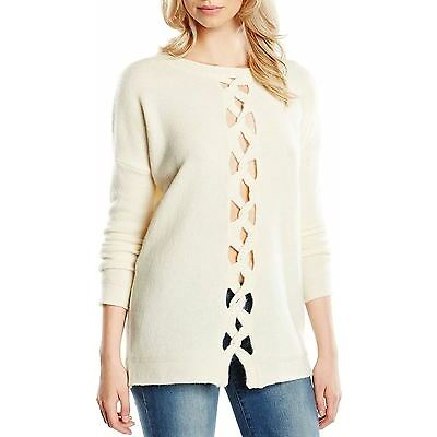 French Connection Y Cable Round Neck Knit Jumper Winter Cream - XS, S, M, L