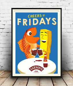 Cheers-to-Fridays-Sarsons-Vinegar-Vintage-advertising-Poster-reproduction